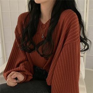 Ribbed V-Neck Crop Sweater